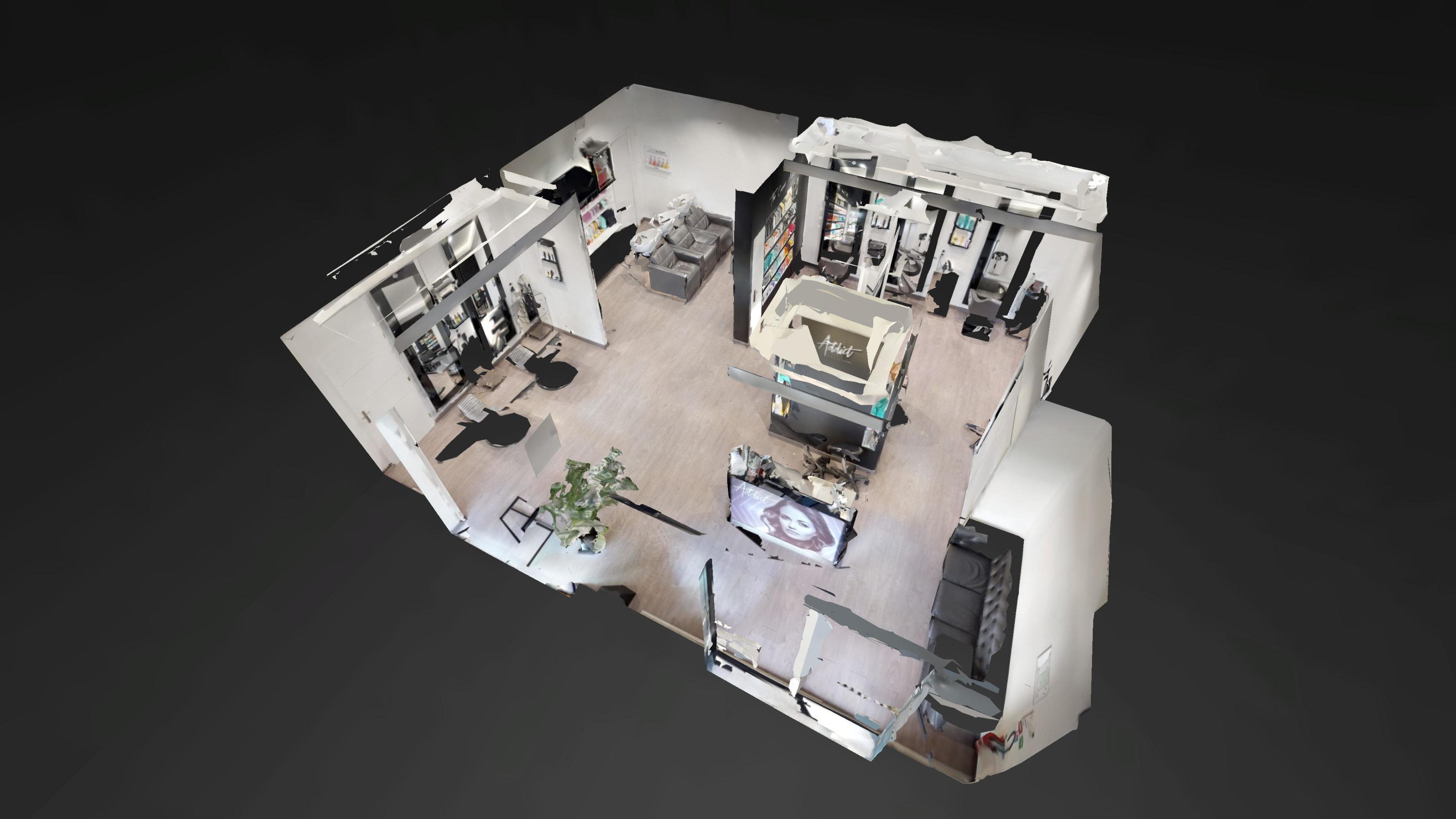 vue 3D salon de coiffure Addict Paris